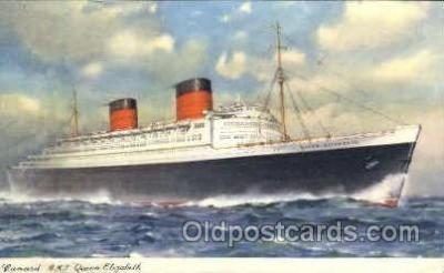shi005102 - R.M.S. Queen Elizabeth Cunard White Star Line Ship, Ships, Postcard Postcards