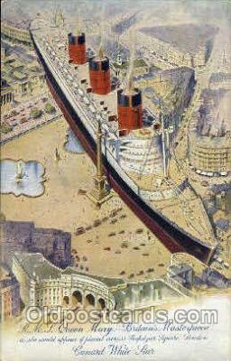 shi005111 - R.M.S. Queen Mary Cunard White Star Line Ship, Ships, Postcard Postcards