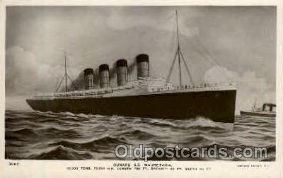 shi005122 - S.S. Mauretania Cunard White Star Line Ship, Ships, Postcard Postcards