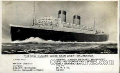 shi005125 - Mauretania Cunard White Star Line Ship, Ships, Postcard Postcards