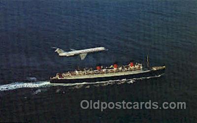 shi005293 - Douglas DC-9 and H.M.S. Queen Mary Cunard Ship Ships Postcard Postcards
