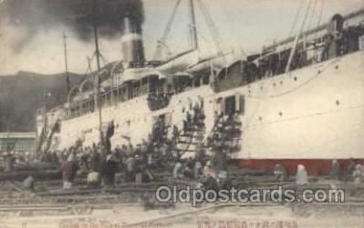 shi007146 - Coaling from The Ship at Nagasaki Harbour Ocean Liner, Ocean Liners, Oceanliner Ship Ships Postcard Postcards