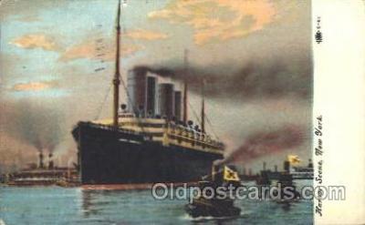 shi007261 - Kaiser Wilhelm II in Port, Harbor Scene, New York, USA Ocean Liner, Ocean Liners, Oceanliner Ship Ships Postcard Postcards