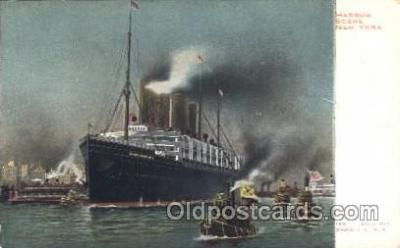 shi007262 - Kaiser Wilhelm II in Port Harbor Scene, New York, USA Ocean Liner, Ocean Liners, Oceanliner Ship Ships Postcard Postcards