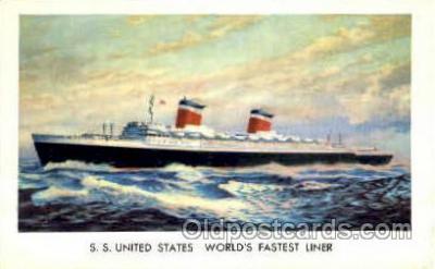shi007382 - S.S. United States, World's Fastest Liner Ship Shps, Ocean Liners,  Postcard Postcards