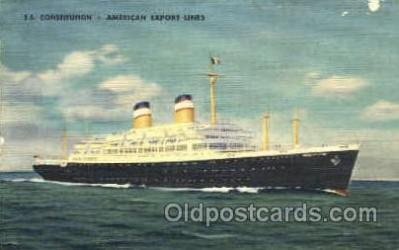 shi007385 - S.S. Constitution, American Export Lines Ship Shps, Ocean Liners,  Postcard Postcards
