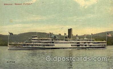 shi008093 - Robert Fulton on the Hudson River, New York, USA Steam Boat Steamer Ship Ships Postcard Postcards