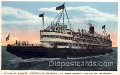 shi008096 - Whaleback Steamer, Christopher Columbus Chicaho - Milwaukee, USA Steam Boat Ship Ships Postcard Postcards