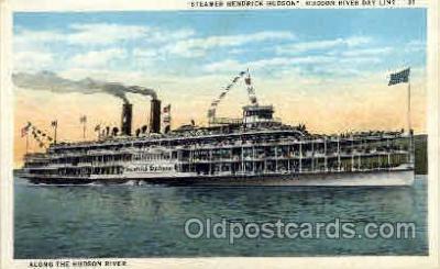 shi008108 - Hendick Hudson on The Hudson River, New York, USA Steam Boat Steamer Ship Ships Postcard Postcards