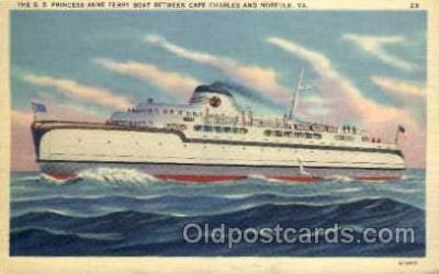 shi008190 - SS Princess Anne  Ferry Boat Between Cape Charles and Norfolk, Virginia, USA, Steam Boat Steamer Ship Ships Postcard Postcards