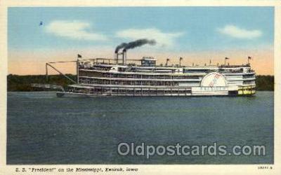 shi008203 - S.S. President on the Mississippi, Keokuk, Iowa, USA Steamer Ship Ships Postcard Postcards