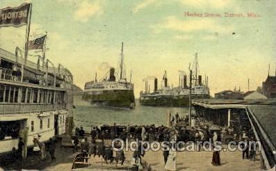 shi008209 - Harbor Scene, Detroit, Michigan, USA Steamer Ship Ships Postcard Postcards