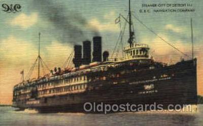 shi008322 - Steamer City of Detrit III, D.C. Navigation Company Postcard Postcards