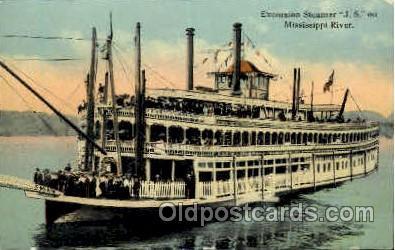 shi008384 - Excursion Steamer J.S. on Mississippi River Postcard Postcards