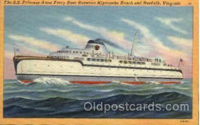 shi008412 - S.S. Princess Anne Ferry Boat Between Kiptopeke Beach and Norfolk, Virginia, USA Postcard Postcards