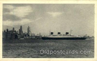 shi008680 - French Line SS Normandie, New York City Background Steamer Ship Ships Old Vintage Postcard Postcards