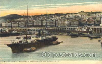 shi008967 - Alger - Panorama et Transatlanlique dans le port,LL,USA Steamer Ship Ships Postcard Postcards