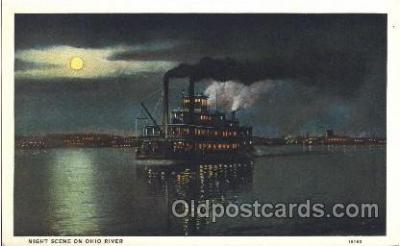 shi008988 - Night scene on Ohio River Steamer Ship Ships Postcard Postcards
