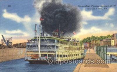 shi009053 - Steam Boat Passing through Locks Steamer Ship Ships Postcard Postcards