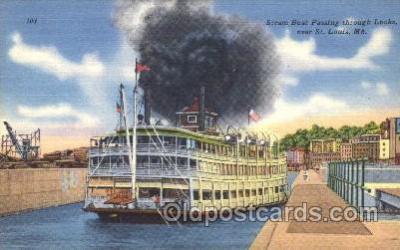 shi009105 - Steam Boat Passing through Locks Steamer Ship Ships Postcard Postcards