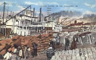 shi009107 - Loading Cotton on the Riverfront Steamer Ship Ships Postcard Postcards