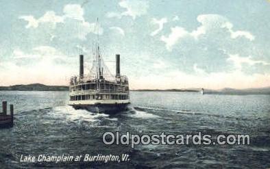 shi009158 - Lake Champlain AT Burlington Vermont, VT USA Steam Ship Postcard Post Card