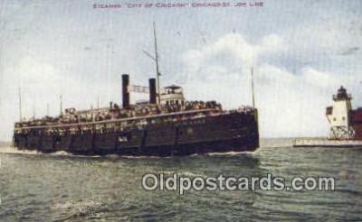 shi009188 - Steamer City Of Chicago, Chicago, Illinois, IL USA Steam Ship Postcard Post Card