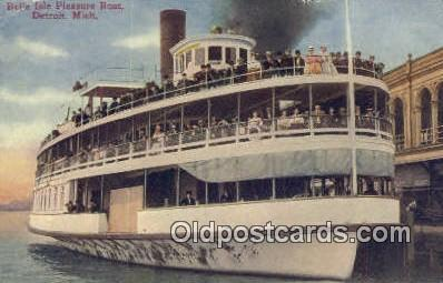 shi009197 - Belle Isle Pleasure Boat, Detroit, Michigan, MI USA Steam Ship Postcard Post Cards