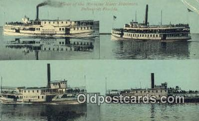 shi009225 - Fleet Of The Manatea River Steamers, Palmetto, Florida, FL USA Steam Ship Postcard Post Cards