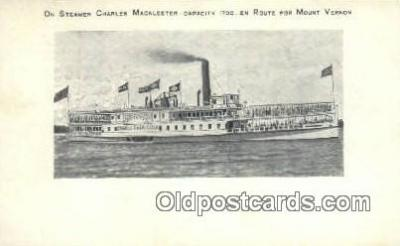 shi009231 - On Steamer Charles Macalester, Mount Vernon, Virginia, VA USA Steam Ship Postcard Post Cards