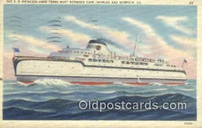 shi009286 - The SS Princess Anne Ferry Boat, Norfolk, Virginia, VA USA Steam Ship Postcard Post Cards