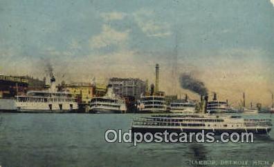 shi009308 - Harbor, Detroit, Michigan, MI USA Steam Ship Postcard Post Cards