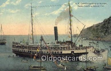 shi009317 - SS Cabrillo Landing AT Avalon Santa Catalina Island, California, CA USA Steam Ship Postcard Post Cards