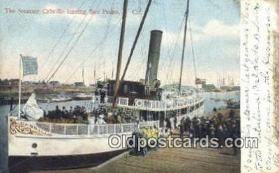 shi009344 - The Steamer Cabrillo, San Pedro, California, CA USA Steam Ship Postcard Post Cards