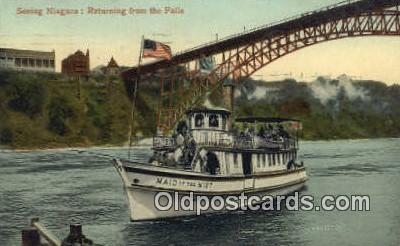 shi009363 - Seeing Niagara Falls On The Maid Of The Mist, New York, NY USA Steam Ship Postcard Post Cards