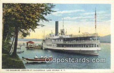 shi009368 - The Saga more Landing At Clevedale, Lake George, New York, NY USA Steam Ship Postcard Post Cards