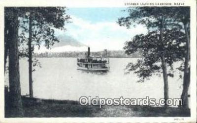 shi009377 - Steamer Leaving Harrison, Maine ME USA Steam Ship Postcard Post Cards