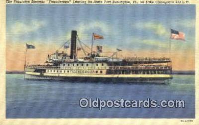shi009390 - The Excursion steamer Ticonderoga, Burlington, Vermont, VT USA Steam Ship Postcard Post Cards