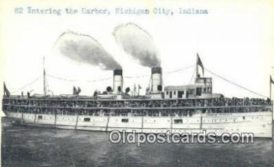 shi009391 - 82 Entering The Harbor, Michigan City, Indiana, IN USA Steam Ship Postcard Post Cards