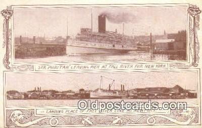 shi009454 - Steamer Puritan Leaving Pier AT Fall River, New York, NY USA Steam Ship Postcard Post Cards
