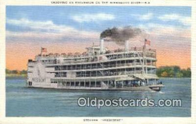 shi009456 - The Steamer President on The Mississippi River, USA Steam Ship Postcard Post Cards