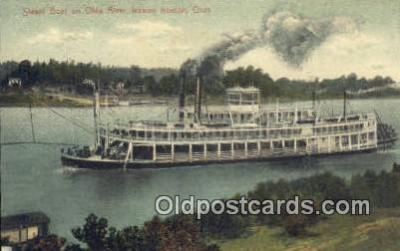 shi009457 - Steam Boat On Ohio River, Ironton, Ohio, USA Steam Ship Postcard Post Cards
