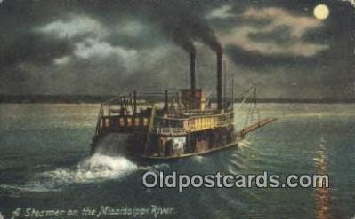 shi009487 - A Steamer On The Mississippi River, USA  Steam Ship Postcard Post Cards