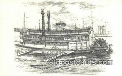 shi009492 - River Boat Series, The Becky Thatcher, St Louis, Missouri, MO USA Steam Ship Postcard Post Cards
