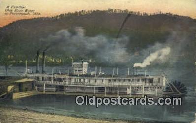 shi009496 - A Familiar Ohio River Scene, Portsmouth, Ohio, OH USA Steam Ship Postcard Post Cards