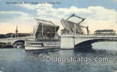 shi009522 - New Lafayette Street Bridge, Open, Tampa, Florida, FL USA Steam Ship Postcard Post Cards
