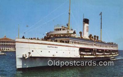 shi009530 - SS Catalina Approaching Avalon, Catalina Island, California, CA USA Steam Ship Postcard Post Cards