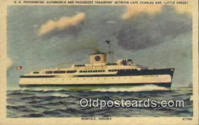 shi009547 - SS Pocahontas Automobile And Passenger Transport, Cape Charles, Norfolk, Virginia, VA USA Steam Ship Postcard Post Cards
