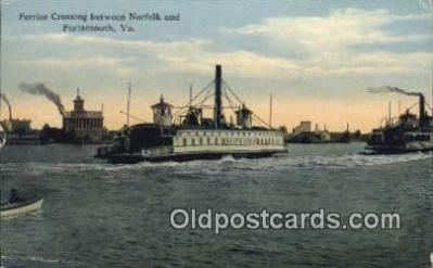 shi009551 - Ferries Crossing Norfolk And Portsmouth, Virginia, VA USA Ferry Postcard Post Card Old Vintage Antique