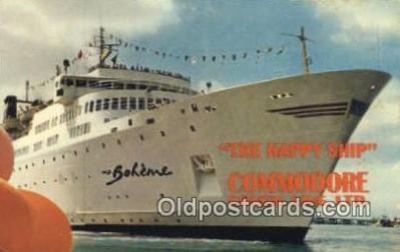 shi009626 - The Happy Ship MS Boheme, Commodore Cruise Line, Miami, Florida, FL USA Steam Ship Postcard Post Cards